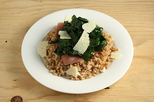 Farro with Garlicky Braised Kale and Prosciutto