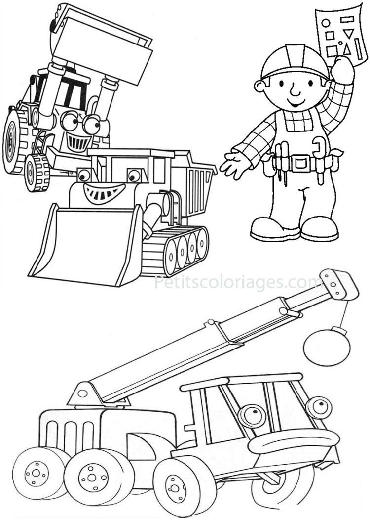 Petits coloriages bob le bricoleur scoup camion pompier Coccigrue