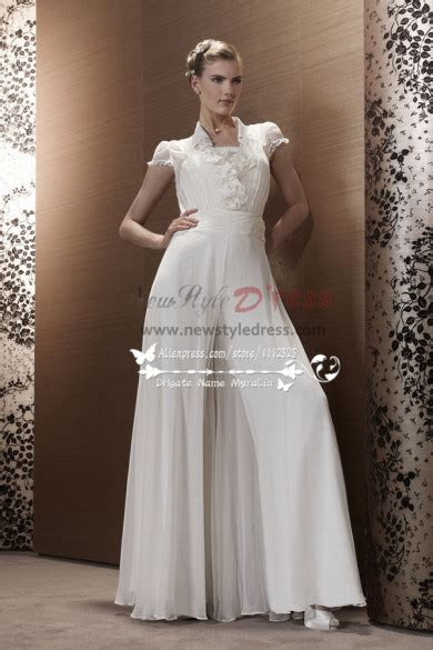 white chiffon wedding jumpsuit bridal siamese trousers