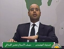 Seif al-Islam Gaddafi addresses the Libyan people over national television on the growing unrest in the east of the North African state. The Libyan leaders warned of possible civil war if the rebellion was not crushed. by Pan-African News Wire File Photos