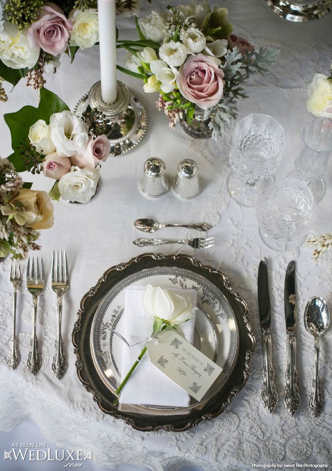 WedLuxe: The English Rose Glitterati Style File -  The Wanderlust Issue. Downton Abbey inspired #wedding table setting #decor