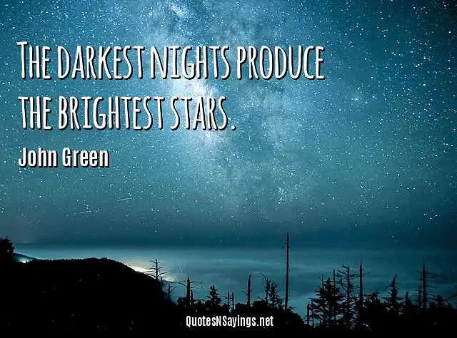 John Green Quote The Darkest Nights Produce The Brightest Stars
