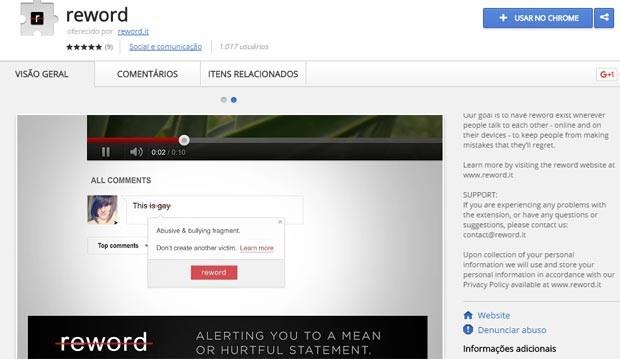 Extensão pode ser usada no navegador Chrome. (Foto: Reprodução)