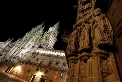 La fachada del Obradoiro de la catedral en Santiago de Compostela