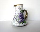 Glass jug Small vase Retro vase Victorian  vase Decoupage vase Colorful jug Vase with violets Decoupage jug - decorartarina