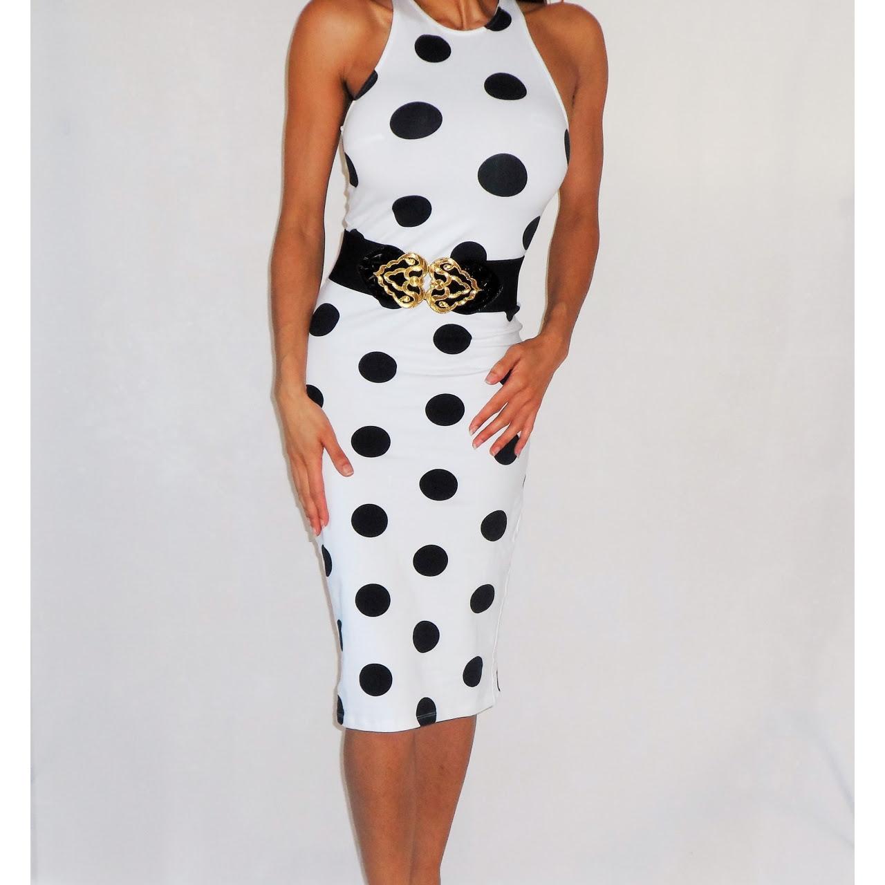 Black and white polka dot midi dress chart