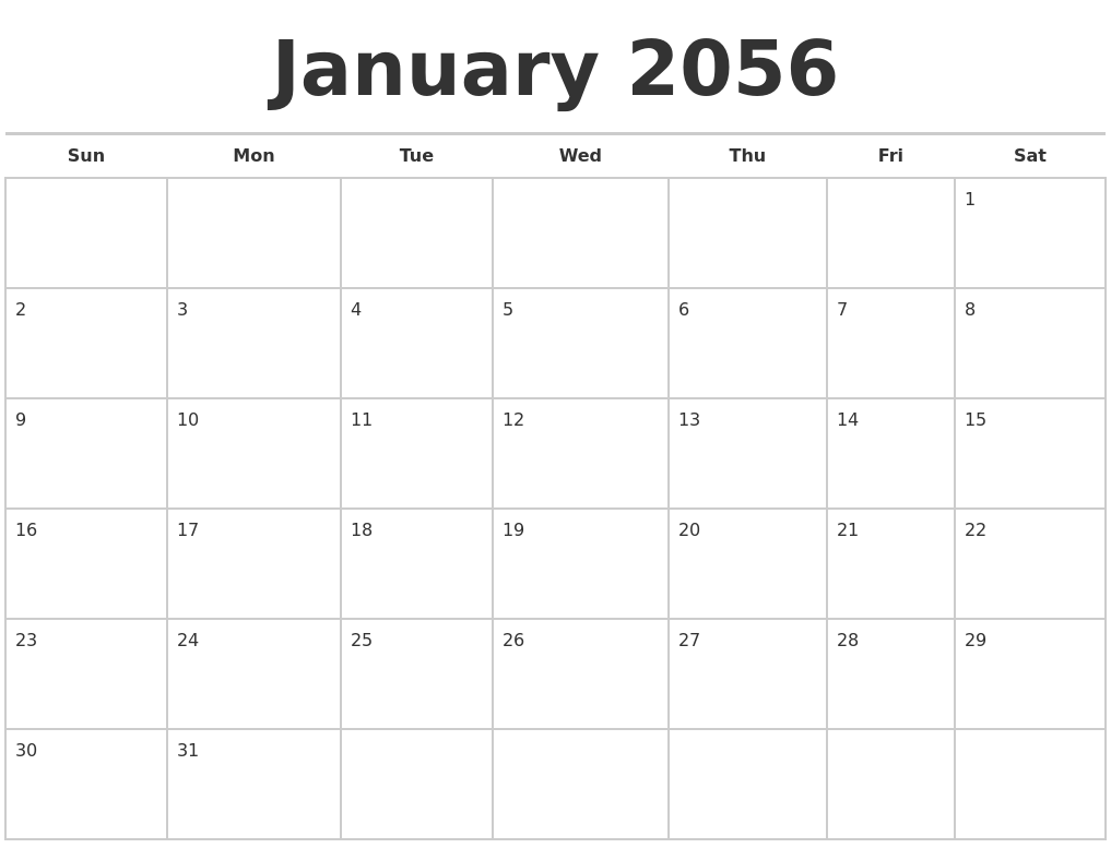 january 2056 calendars free