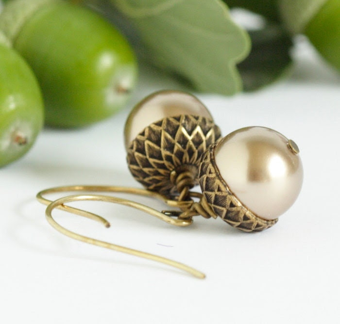 Acorn Earrings - Brass and Bronze - Perfect for Autumn