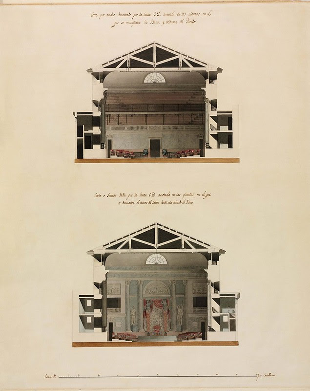 2 cross-sectional views of stage and seating stand inside theatre