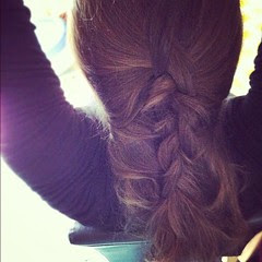 Trying to do pretty braid stuff with my hair. :)