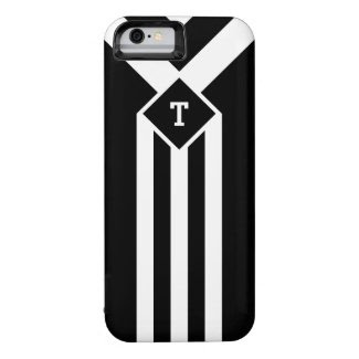 White Stripes and Chevrons on Black with Monogram iPhone 6 Case