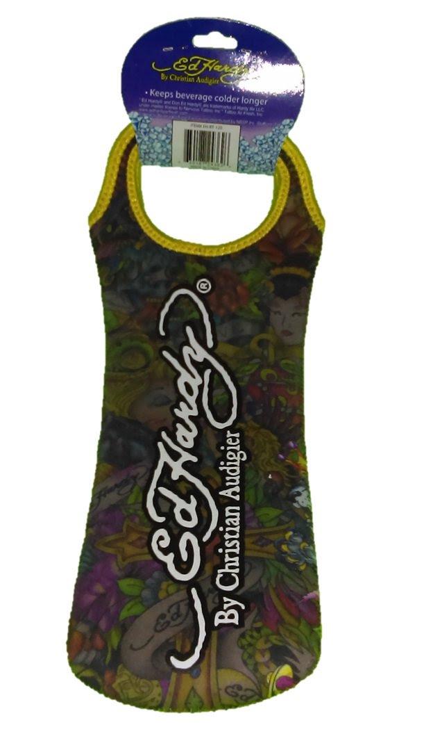 Ed Hardy Designs By Christian Audigier Neoprene One-Bottle Wine Beverage Tote (Tattoo Cross)