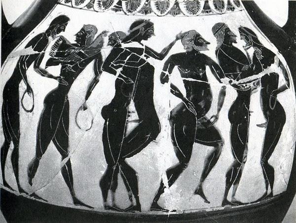 Detalle de un ánfora áticade figuras negrasdel pintor de Berlín1686