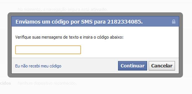 Insira o código de ativação recebido por SMS (Foto: Reprodução)