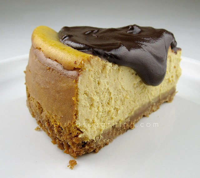 pumpkin cheesecake with chocolate-nutella ganache