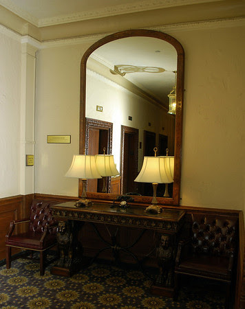 The mirror that Charles Dickens used to practice in front of while living at the Parker House from 1867 to 1868.