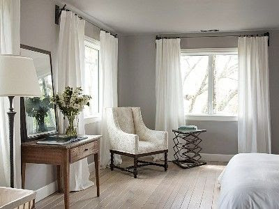 Gray with white curtains