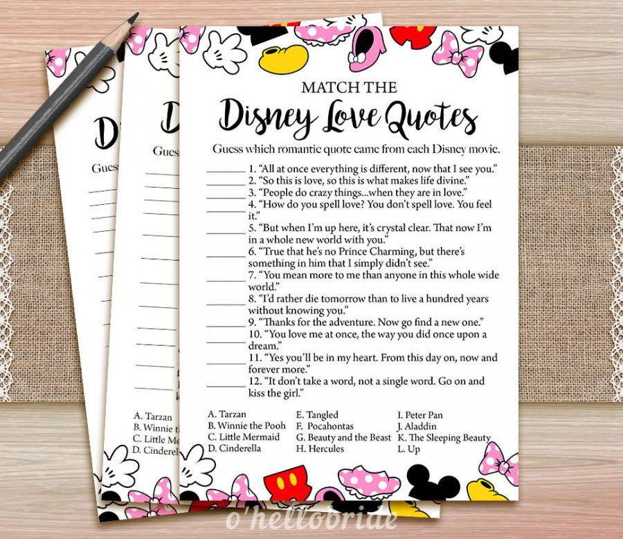 Disney Love Quotes Match Game Printable Bridal Shower Love Quote