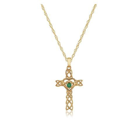 9ct Yellow Gold 0.10ct Emerald Set Claddagh Cross Pendant