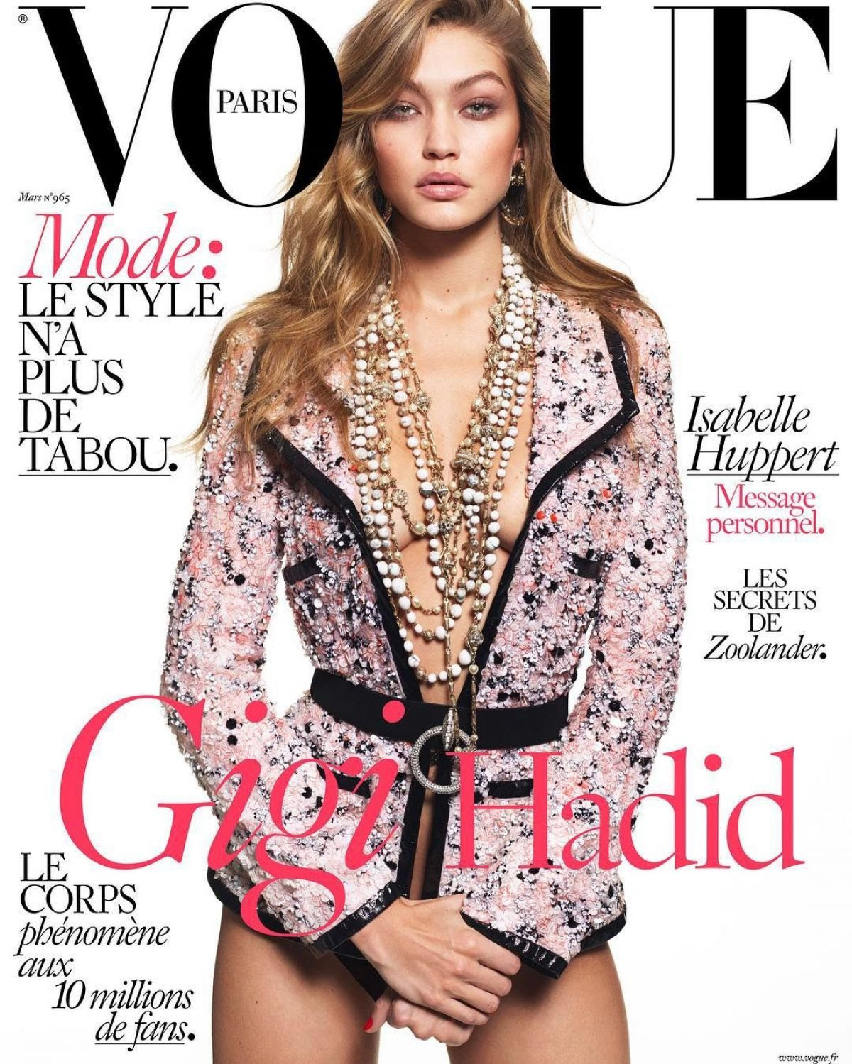 GIGI HADID on the Cover of Vogue Magazine, March 2016