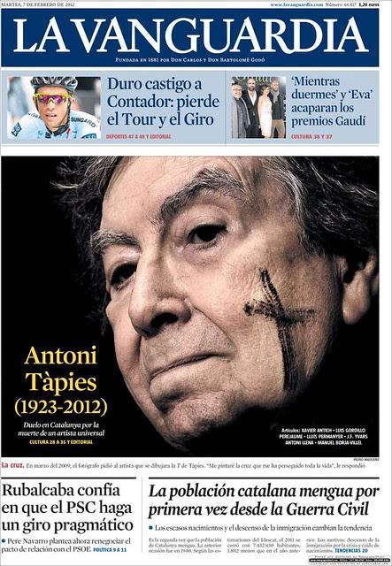 La Vanguardia Fallecimiento de Tapies-Grande