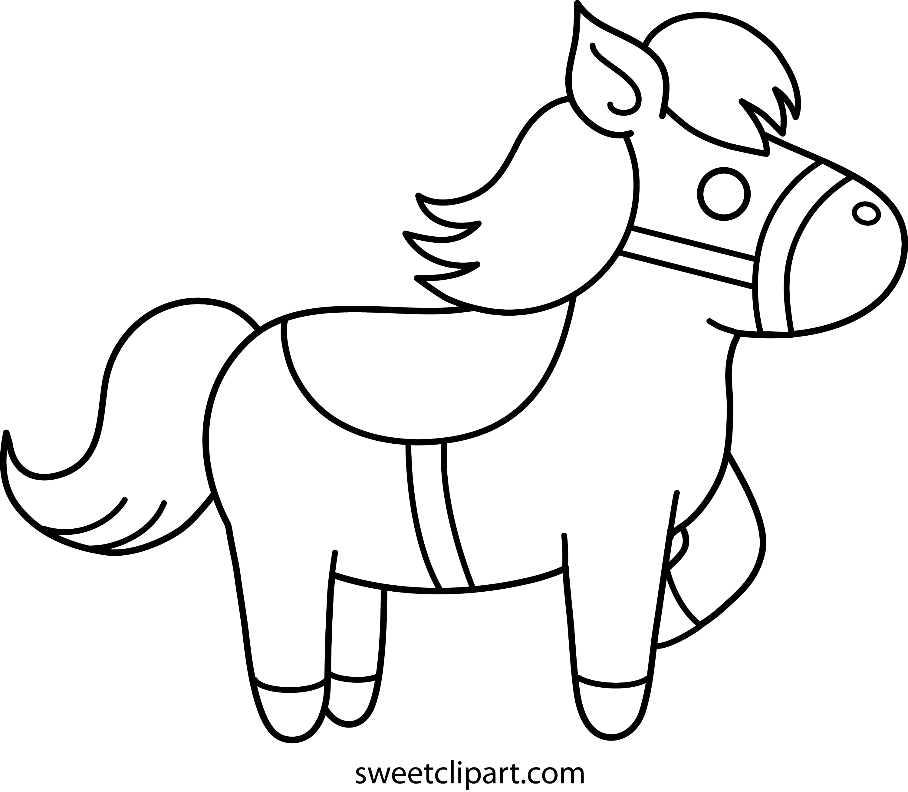 Cute Pony Coloring Page - Free Clip Art