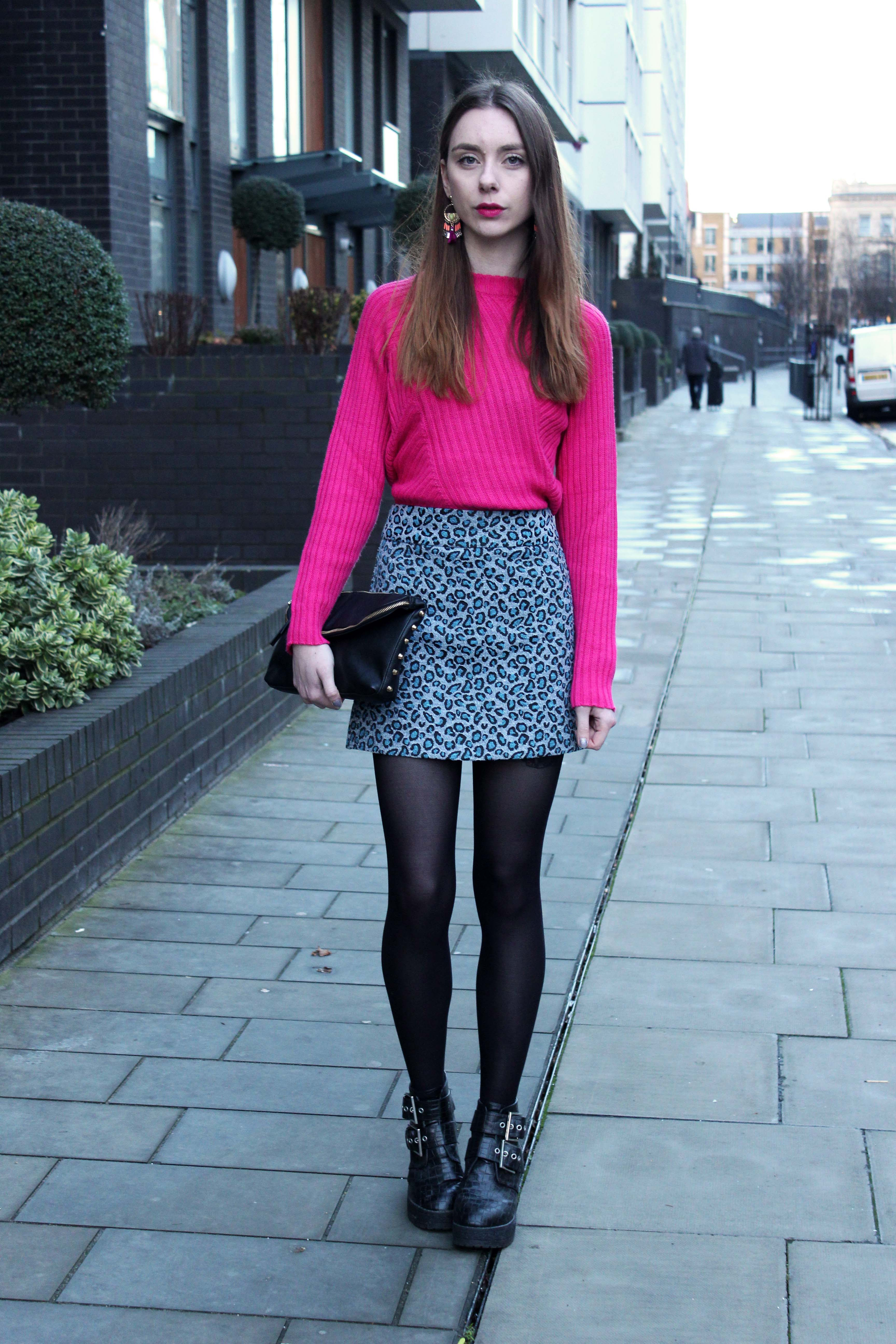 Outfit with a Monki pink jumper, Topshop leopard skirt and asos boots.
