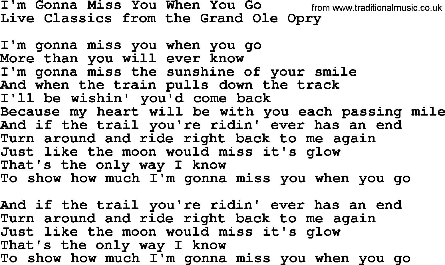 Im Gonna Miss You When You Go By Marty Robbins Lyrics