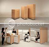Escritório, cozinha e quarto compacto
