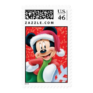 Red Holiday Mickey Mouse on Snowflake Postage