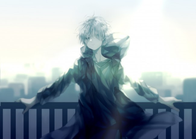 Wallpaper Cool Anime Boy, Hoodie, White Hair, Fence, Cityscape - WallpaperMaiden