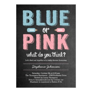 Blue or Pink Gender Reveal Baby Shower Invitation Personalized Invites