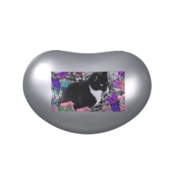 Freckles in Butterflies II - Tuxedo Cat Jelly Belly Tin