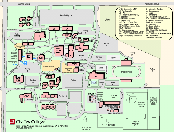 Chaffey Campus Map | World Map Gray