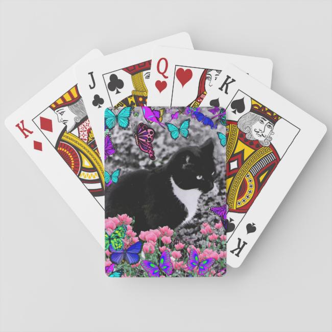 Freckles in Butterflies III, Tux Kitty Cat Poker Deck
