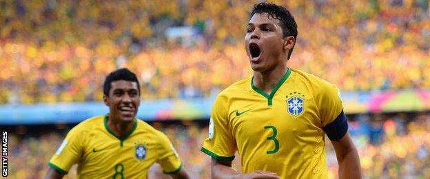 Thiago Silva-yellow soccer jersey-Brazil