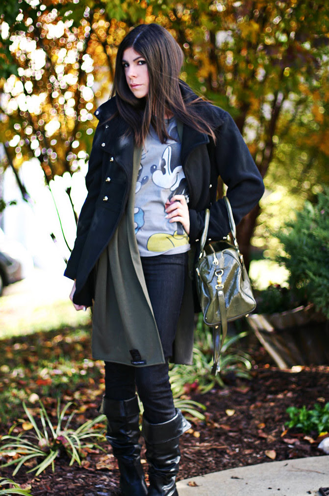 Mickey Mouse Disney Couture Shirt, Lodis handbag, Gossip girl, Gucci boots, Fashion Outfit