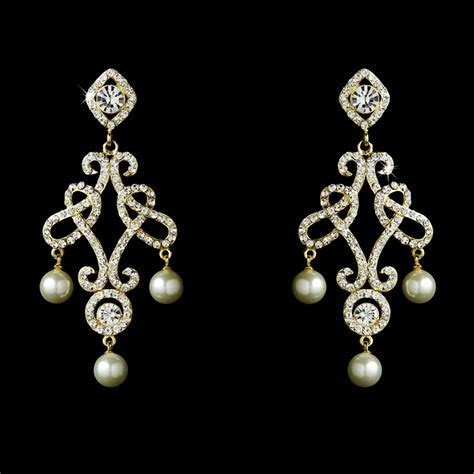 Majestic Austrian Crystal & Pearl Chandelier Earrings