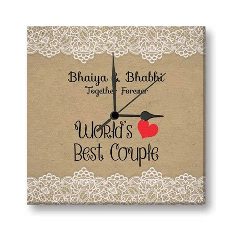 Worlds Best Couple Bhaiya And Bhabhi Canvas Wall Clock