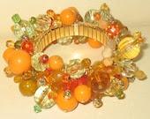 Grateful Harvest a Recycled Vintage Bead Bracelet of Thanks
