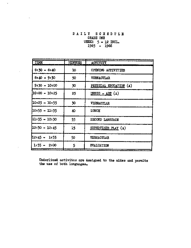 Daily schedule grade 1 (1965-1966)   UAiR
