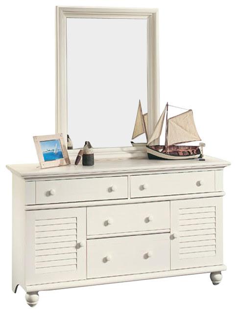 Sauder Harbor View Dresser and Mirror Set in Antiqued ...