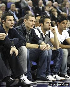 Robin Van Persie, Thomas Vermaelen, Cesc Fabregas and Carlos Vela