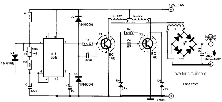 12v to 220v inverter circuit diagram with 2n3055 hp. Black Bedroom Furniture Sets. Home Design Ideas