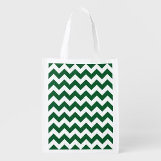 Green and White Zigzag Reusable Grocery Bag