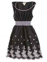 Ruche - black and white embroidery dress