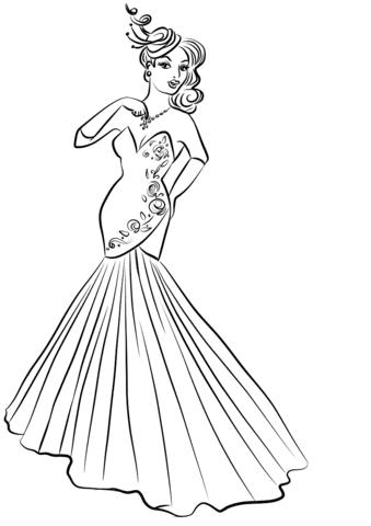 Dibujo De Mujer En Vestido De Noche Para Colorear Dibujos Para