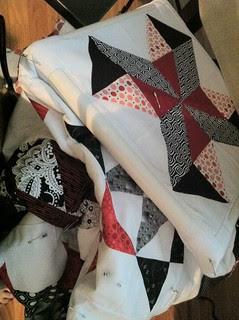 red, black, white quilt