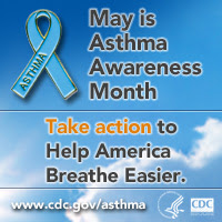 Badge: May is Asthma Awareness Month. Take action to help America breathe easier.