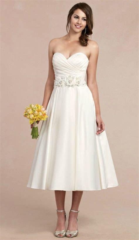 Sweet Tea length Wedding Dress for Older Brides Over 40